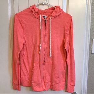 Old Navy Tops - Lightweight bright coral Old Navy Hoodie sz Med